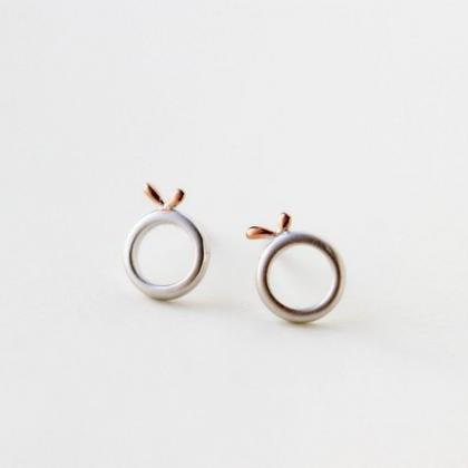 Tiny 925 sterling silver stud earrings, litttle leaf lovely shape, 14k pink gold plating(D241)