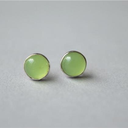 Gemstone sterling silver stud earrings, simple prehnite round stud earrings, tiny dot gemstone stud earrings(D154)