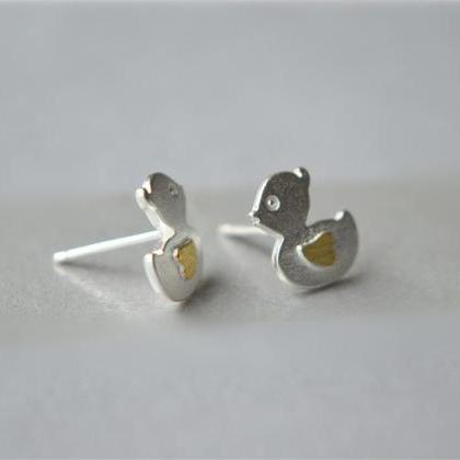Duck shape, sterling silver stud ea..