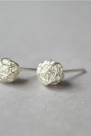 Sterling silver stud earrings, wrapping ball studs, simple basic 925 silver studs (D46)