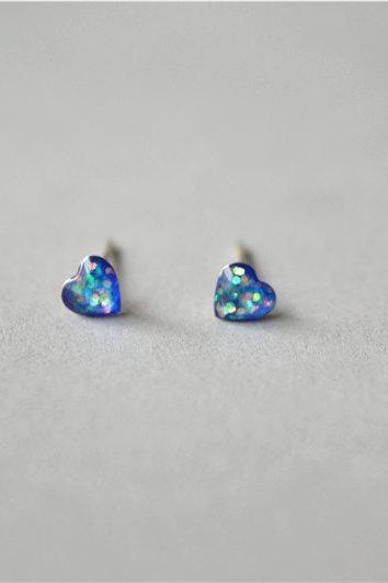 Blue heart stud earrings, natural resin cover, shiny inside, sterling silver post and back , gift for daughter (D169)