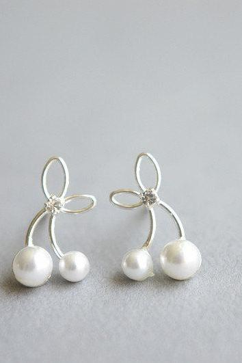 Cherry sterling silver pearl stud earrings, zirconia white pearl stud earrings, dainty women's cherry jewelry, gift for girlfriend(D190)