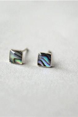 Tiny square stud earrings, aurora borealis shell cover, sterling silver post and back (D167)