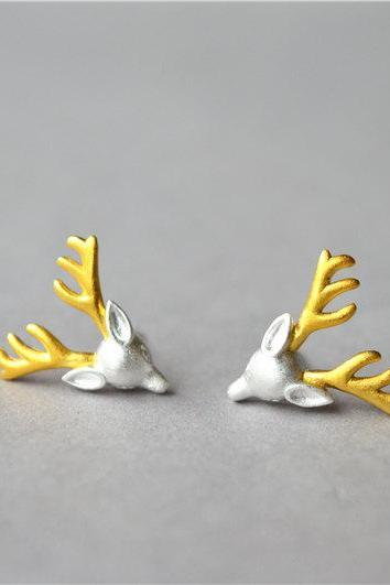 Reindeer antler solid 925 sterling silver stud earrings, gold and silver Christmas stud earrings(D346)