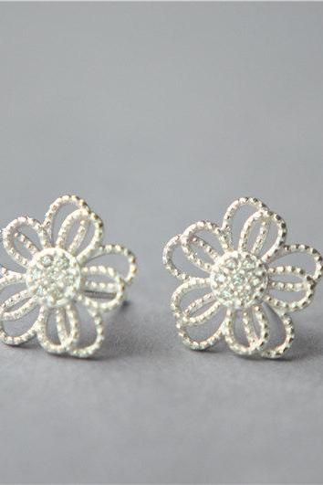 Big 925 sterling silver flower stud earrings, braid style with mini zirconia inlaid, super elegant and delicate (D176)