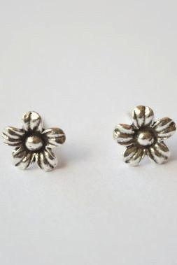 Vintage Sterling silver flower stud earrings, big size(D221)