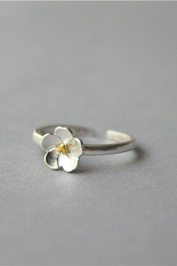 Silver flower ring, gold flower heart ring, 925 sterling silver 14k gold plated flower ring, open adjustable flower ring, sakura ring (JZ21)
