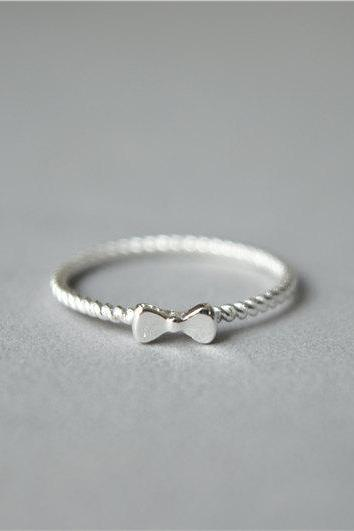 Simple thin bow ring, 925 sterling silver ring,twist band bow knot ring, tiny dainty women's ring (JZ59)