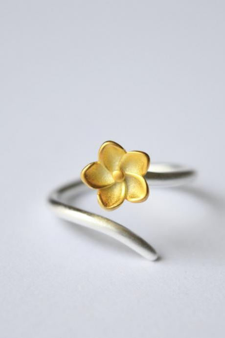 Silver flower ring, gold flowerring, 925 sterling silver 14k gold plated flower ring, open adjustable flower ring (JZ77)