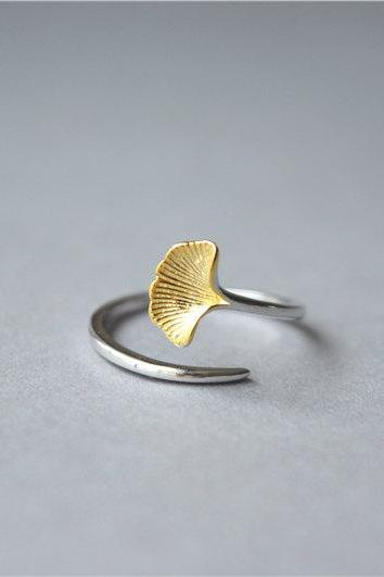 Gold leaf ring, 925 sterling silver leaf ring, adjustable ring, one size suits all, gift for women (JZ81)