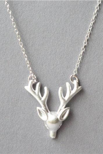 Silver reindeer necklace, 925 sterling silver solid filled, Christmas gift antler necklace with extender chain (XL68)