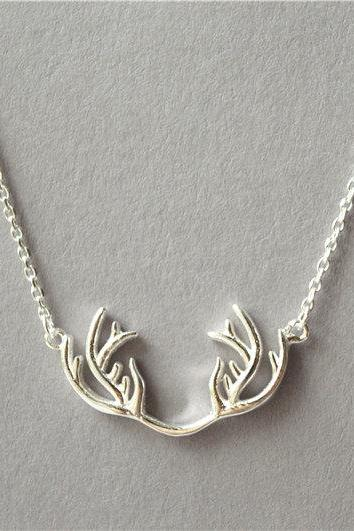 Big simple 925 Sterling silver reindeer antler necklace, abstract solid pendant shiny surface, Christmas jewelry Christmas gift (XL67)