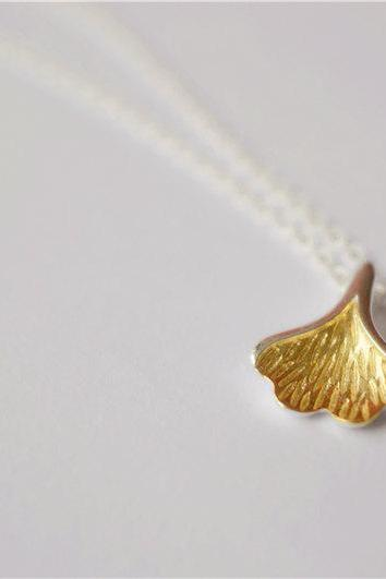 Silver leaf necklace, 14k gold plating leaf pendant, thin chain with extender, beautiful gift (XL8)