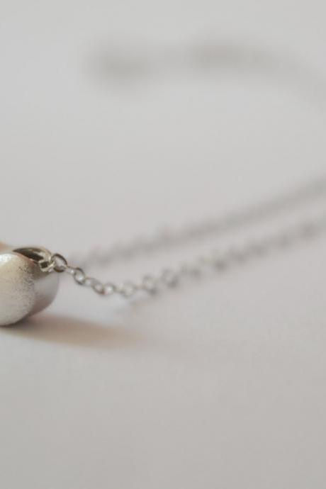 Silver bean necklace, sterling silver bean shaped necklace, delicate necklace (XL37)