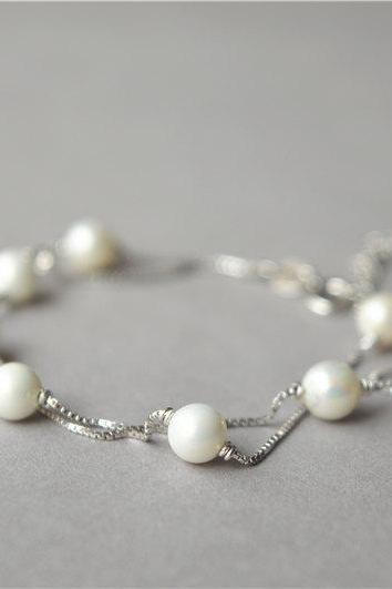 Pearl bracelet, 925 sterling silver bracelet, small white pearls, double layer bracelet, girl friend's gift, mom's gift (SL7)