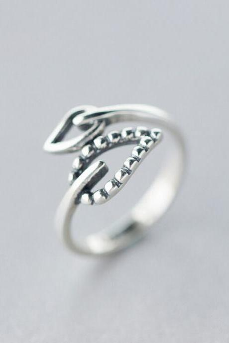 Sterling silver ring, Leaves Ring opening, adjustable (1899)