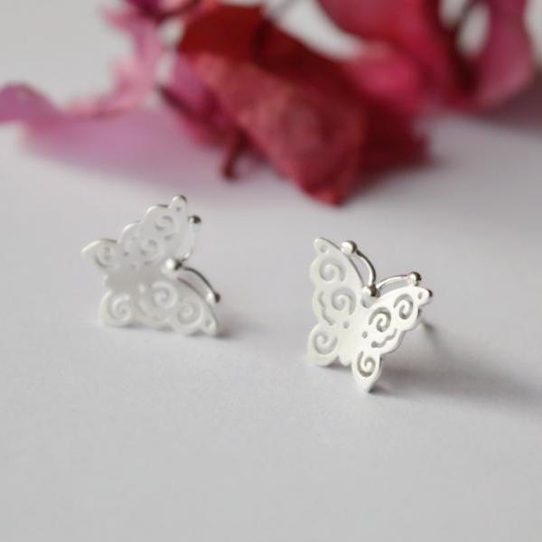 Butterfly sterling silver stud earrings, Noel's original design, delicate handmade jewelry(D188)