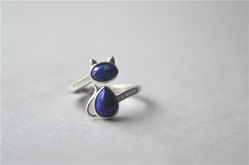 lapis lazuli cat ring sterling silver cat ring zirconia